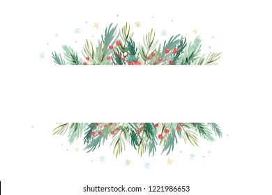Christmas watercolor background frame with lettering. Winter decoration set of celebration elements, holiday wreath greeting design and invitation cards.