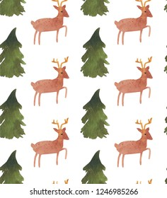 Christmas Watercolor beautiful seamless pattern with Santa, deer, ribbons, bells and tree. Happy New Year decor. Holidays decorative prints for textile, paper, cards etc