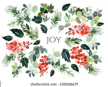 Christmas watercolor card with floral elements