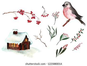 Christmas watercolor collection hand-drawn: deer bullfinch winter house pine cone flowers twigs branches berries frames wreaths seamless patterns bouquets invitations borders premade cards decor
