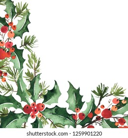 Christmas watercolor corner arangement of holly, berries and spruce