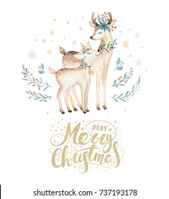 Christmas watercolor deer. Cute kids xmas forest animal illustration, new year card or poster. Hand drawn isolated baby animals painting.