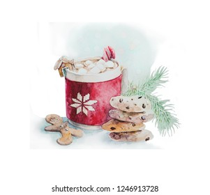 Christmas watercolor draw. Hot chokolate with marshmallow and cookies