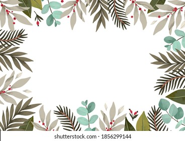 Christmas watercolor frame with greenery, fir branches, eucalyptus and red berries. Happy new year and Merry christmas card. Perfect for greeting cards, wedding invitations, banners, posters