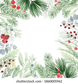 Christmas watercolor frame with winter branches, leaves and berries, illustration isolated on white background in vintage style. Holiday frame for invitation or greeting cards.