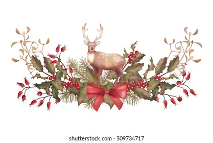 Christmas Watercolor Garland. Holiday vintage style decorations with a deer on white background