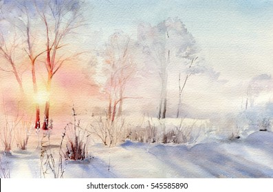 Christmas watercolor hand drawn landscape. Sunny day. ?ounter light. Frosty winter forest.
