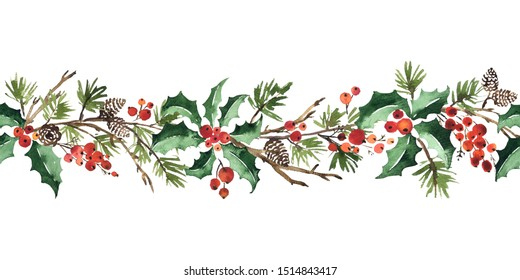 Christmas watercolor horizontal seamless pattern with holly berries, spruce and pine cones
