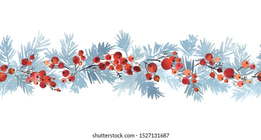 Christmas watercolor horizontal seamless pattern with spruce branches in blue and red berries