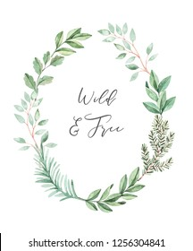 Christmas watercolor illustration. Botanical wreath with eucalyptus and fir-tree branches. Greenery winter floral frame. Perfect for wedding invitations, greeting cards, prints, posters and packing
