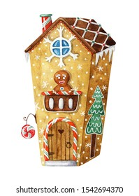 Christmas watercolor illustration. Christmas gingerbread house. For greeting cards and Christmas design.