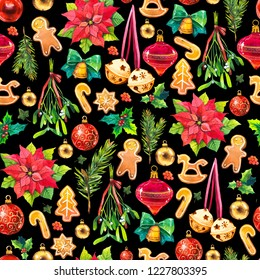 Christmas watercolor illustration in picturesque style. Holiday seamless pattern with ribbon, poinsettia, holly, ball, branch, mistletoe, bell, cookies. New year decoration on black background.