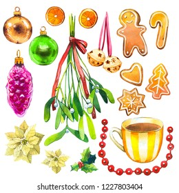 Christmas watercolor illustration in picturesque style. Holiday set with ribbon, poinsettia, bell, orange, holly, cup, hat, beads, cookies, ball, branch, mistletoe, ginger. New year decoration.