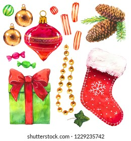 Christmas watercolor illustration in picturesque style. Holiday set with gift, box, ribbon, cone, beads, cookies, ball, branch, sock, candies. New year decoration.