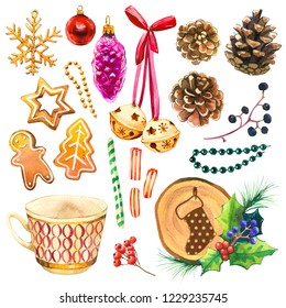 Christmas watercolor illustration in picturesque style. Holiday set. with ribbon, bell, orange, holly, cup, beads, cookies, ball, branch, spruce, candies. New year decoration.