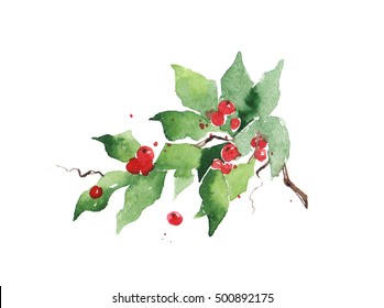 Christmas watercolor mistletoe