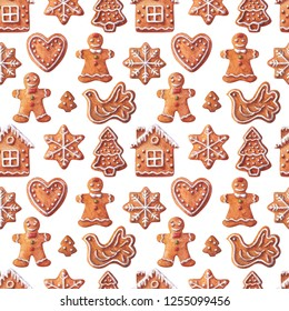 Christmas watercolor seamless pattern. Traditional gingerbread. Watercolor isolated illustration.
