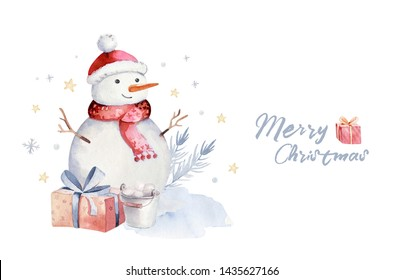 Christmas watercolor set of elements. Winter isolated illustration. Holiday design with snowman. Happy New year greeting card