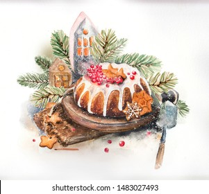 Christmas watercolor still life with sweets, cake, gingerbread house and other elements, holiday design