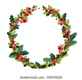 Christmas watercolor wreath with holly