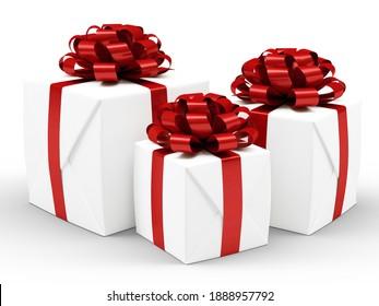 Christmas White Gift Boxes Isolated on white backhround