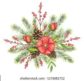Christmas winter decoration composition with spruce, pinecones, red flowers, branches with berries and leaves isolated on white background. Watercolor hand drawn illustration