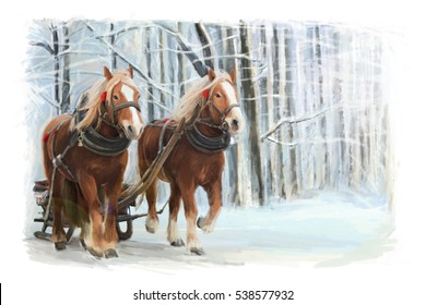 Christmas winter happy scene with frame - man in the sleigh with two horses - illustration for children