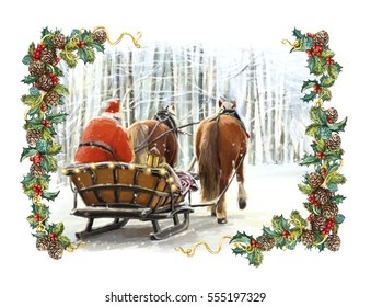 Christmas winter happy scene with frame with santa claus in traditional sleigh - with two horses - illustration for children