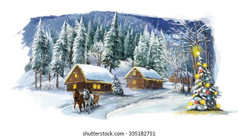 Christmas winter happy scene - illustration for the children