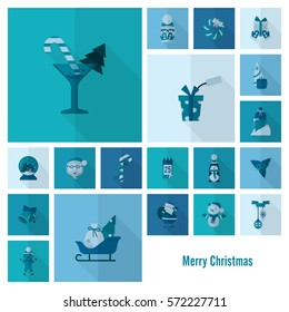 Christmas and Winter Icons Collection. Monochrome color. Long Shadow. Simple and Minimalistic Style.