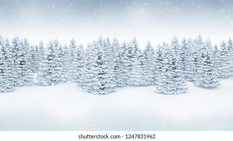 Christmas winter landscape background. Falling snow and snow covered pine trees. 3D render