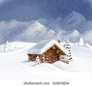 Christmas winter landscape - wooden hut, snow, pine trees, mountains. Copy space, illustration