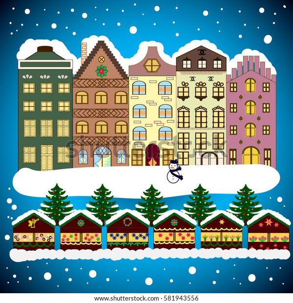 Christmas winter scene. Background. Evening village winter landscape with snow cove houses.