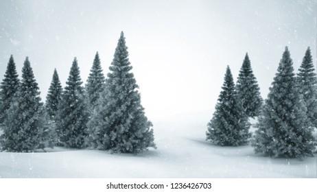 Christmas winter scenery. 3D illustration