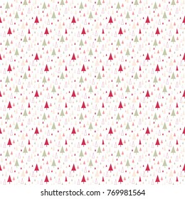 Christmas Winter Trees Seamless Pattern Background in Pink and Green