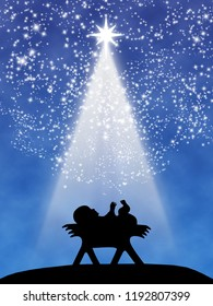 Christmas wish greeting card: Jesus child in the manger in black silhouette above a blue gradient backdrop, with white stars and comet star light beam at night.