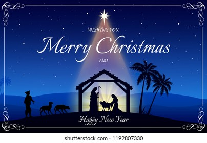 Christmas wish greeting card: Nativity scene in black silhouette in the desert setting at night, with the Bethlehem comet star that illiminates the stable.