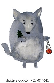 The christmas wolf. Cute watercolor animal illustration. Fat funny grey dog. Symbol 2018.