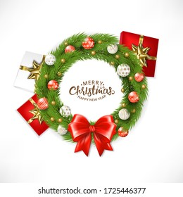 Christmas Wreath With Ball,  Illustration