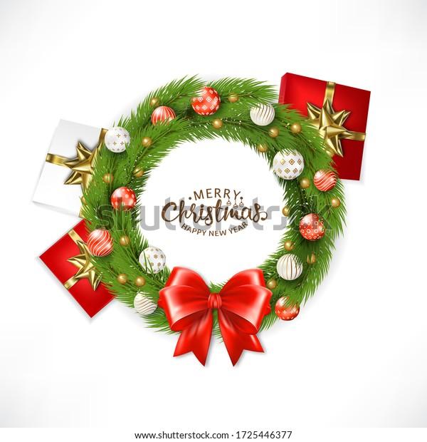 Christmas Wreath With Ball,  Illustration