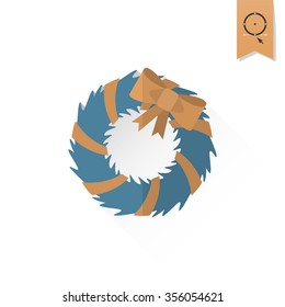 Christmas Wreath With Bow. Long Shadow. Retro Color. Single Flat Icon .