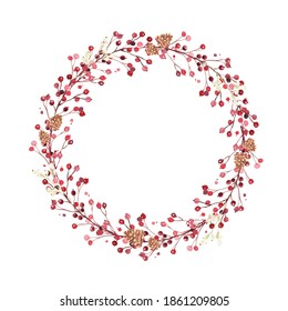Christmas wreath created in watercolor. Watercolor Christmas wreath can be used in greeting cards, advertising banners, gift packaging.
