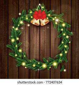 Christmas Wreath Green Fir Branch Light Stock Vector Royalty Free