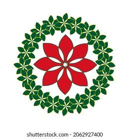 中央に赤いポインセットティアが付いたクリスマスリースアイコン、クリスマスドアの飾りシンボル