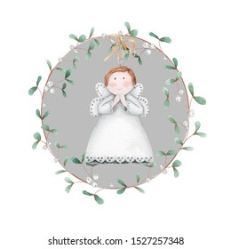 Christmas wreath with  mistletoe and angel. Hand   drawing.