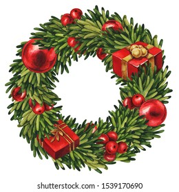 Christmas wreath with red decor. Christmas frame isolated on white. Watercolor illustration, greeting card, invitation