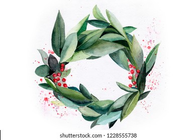 Christmas wreath. Rowan. spring wreath. mistletoe new Year. winter. Spring. watercolor. leaves
