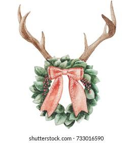 Christmas wreath. watercolor illustration. Christmas deer