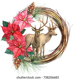 Christmas wreath, winter composition deer with the flowers of poinsetia, watercolor illustration, hand drawing. Deer for fashion print, poster for textiles, fashion design