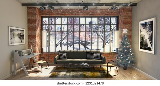 Christmas Xmas Celebration interior illustration , 3d rendering